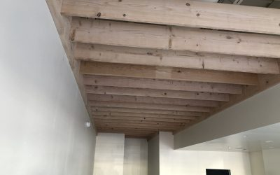 Balboa's Natural Wood Ceiling Feature Complete & Cabinets