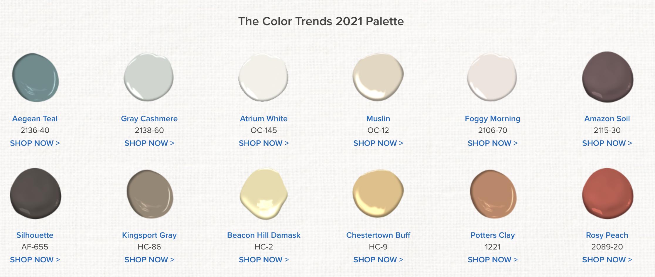 2021 Benjamin Moore Colors of the year